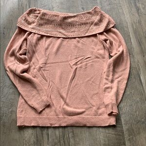 Dust pink size small sweater with gold beading